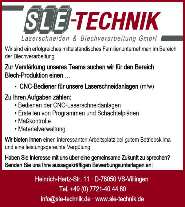 SLE-Technik Stellenanzeige 03.2017 Internet
